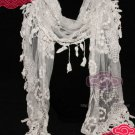 VINTAGE STYLE LACE LEAF TASSEL EMBROIDERY FLORAL LADY PARTY WRAP SHAWL SCARF