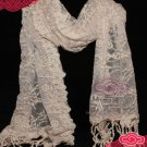VINTAGE STYLE FLORAL FLOWER BUTTERFLY LACE TASSEL WEDDING WRAP SHAWL SCARF