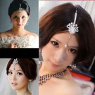 INDIAN BOLLYWOOD WEDDING BRIDAL MAANG TIKKA RHINESTONE DANGLE HAIR ACCESSORY