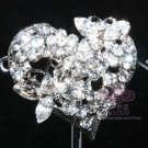 BUTTERFLY HEART RHINESTONE WEDDING BRIDAL SILVER TONE SWEATER GUARD BROOCH PIN