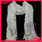 VINTAGE PEARL COTTON POLYESTER LACE CROCHET WRAP SHAWL SCARF