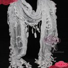 GREY GRAY VINTAGE STYLE FLORAL LACE STOLE WRAP SHAWL SCARF