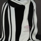 SPORTY SMART STRIPES BLACK WHITE COLOR WOOL ACRYLIC BOY MEN LONG WRAP SCARF