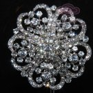 RHINESTONE CRYSTAL HEART FLOWER SILVER BROOCH PIN WEDDING CAKE DECORATION