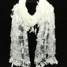 TRELLIS BY KRISTY RICE STYLE LACE LEAF TASSEL IVORY WHITE PINK WRAP SHAWL SCARF