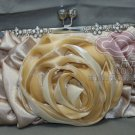 ROSE FLOWER BRIDE BRIDESMAID SILK CHIFFON CAMPAIGN CRYSTAL EVENING BAG CLUTCH