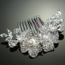 "3"" ART DECO FAUX PEARL  BRIDAL WEDDING SILVER RHINESTONE CRYSTAL TIARA HAIR COMB"