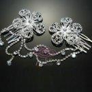 RARE FLOWER BRIDAL WEDDING RHINESTONE CRYSTAL SWEATER GUARD HAIR PIECES CLIP