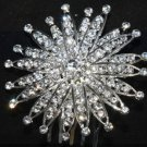 ROUND FLOWER BRIDAL WEDDING BRIDES GIRLS RHINESTONE CRYSTAL TIARA HAIR COMB
