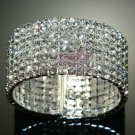 RHINESTONE CRYSTAL WEDDING BRIDAL PARTY ELASTIC CUFF BANGLE BRACELET