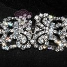 LOT OF 4 RHINESTONE CRYSTALS DRESS BUCKLE CLOSURE CLASP MATCHING BUTTON HOOK