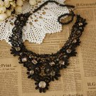 LACE CROCHET ANTIQUE RHINESTONE CRYSTAL BRIDAL BLACK WOOD BEADED CHOKER NECKLACE