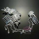 FAUX PEARL WEDDING BRIDES BRIDAL RHINESTONE CRYSTAL COMB HAIR FLOWER TIARA