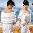 BRIDAL WEDDING CAPE STOLE FAUX FUR WRAP SHRUG BOLERO LACE TASSEL SHAWL SCARF