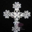 RHINESTONES CRYSTAL BRIDAL WEDDING HEART CHRISTIAN CROSS SILVER BROOCH CLIP PIN
