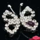 RHINESTONE CRYSTAL BUTTERFLY WEDDING SASH BUCKLE BUTTON HOOK CLOSURE