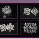 LOT OF 4 BOW ROUND CIRCLE SASH GOWN RHINESTONE CRYSTAL SHANK SILVER BUTTONS