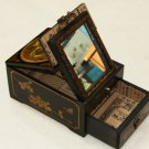 SALES - LARGE CHINESE ANTIQUE REPRODUCTION BLACK LEATHER JEWELRY MIRROR WOOD BOX