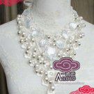 CREAM WHITE FAUX PEARL ACRYLIC CROCHET LACE NECK COLLAR RIBBON CHOKER NECKLACE