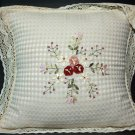 LOT OF 2 EMBROIDERY FLORAL BEIGE LACE CHAIR SOFA GARDEN PILLOW CUSHION PADS CASE