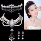 VICTORIAN WEDDING BRIDAL RHINESTONE CRYSTAL PEARLS EARRINGS TIARA NECKLACE SET