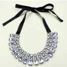 ELEGANT THREE ROWS FASHION ACRYLIC RHINESTONE CRYSTALS CHOKER RIBBON NECKLACE