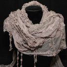 BROWN TASSEL CROCHET LACE WRAP VINTAGE STYLE WRAP TRIANGLE SCARF