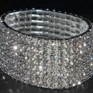 RHINESTONE FLOWER BOUQUET STEM SILVER 7 ROWS WEDDING BRIDAL BANGLE BRACELET