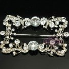 RHINESTONE CRYSTAL VINTAGE STYLE SILVER RECTANGLE SILVER TONE BELT BUCKLE
