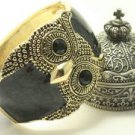 VINTAGE STYLE BRASS CUTE OWL BLACK RED WHITE BRACELET BANGLE CUFF