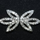 RHINESTONE CRYSTAL WEDDING BRIDAL LEAF SASH METAL BUCKLE BUTTON HOOK CLOSURE