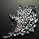 RHINESTONE CRYSTAL SILVER BUCKLE HAIR COMB CRAFT JEWERLY BROOCH PIN
