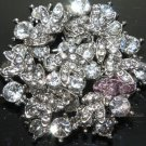 ROUND BRIDAL FLOWER BOUQUET RHINESTONE CRYSTAL HEART SILVER WEDDINGBROOCH PIN