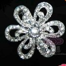 BRIDAL FLOWER FLORAL BOUQUET CRYSTAL RHINESTONE SILVER WEDDING BROOCH GUARD PIN