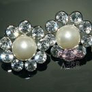 6 PCS SILVER RHINESTONE CRYSTAL SHANK CREAM WHITE PEARL SEW-ON DRESS BUTTONS