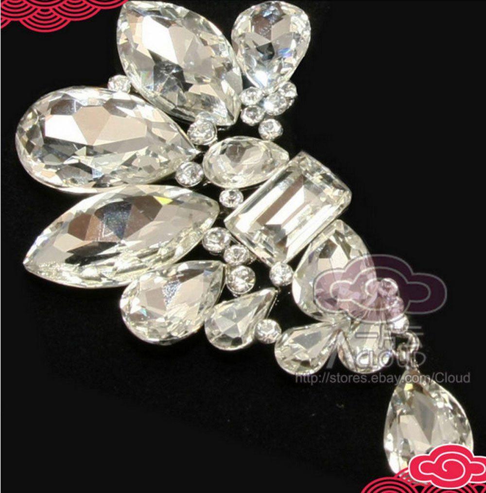 AUSTRIA HIGH-END SWAROVSKI CRYSTAL BRIDAL WEDDING DRESS BUCKLE HOOK�BROOCH PIN