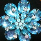 RHINESTONE CRYSTAL BLUE CORSAGE ACRYLIC WEDDING INVITATION BROOCH PIN