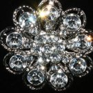 SALES - BRIDAL WEDDING FLOWER RHINESTONE CRYSTAL ROUND FLORAL SILVER BROOCH PIN