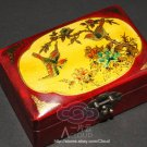 CHINA EXPORT VINTAGE LEATHER JEWELRY RED BIRD WOOD BOX CASES