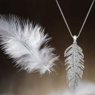 SILVER GOLD PLATINUM PLATED FEATHER RHINESTONE CRYSTAL PENDANT CHARM NECKLACE
