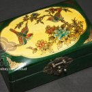 CHINESE ART BIRDS FLOWER PAINTING RED OR GREEN LEATHER JEWELRY WOOD BOX CASE SET