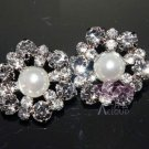 4 PCS ROUND RHINESTONE CRYSTAL SHANK CREAM WHITE PEARL HOOK WEDDING BUTTONS
