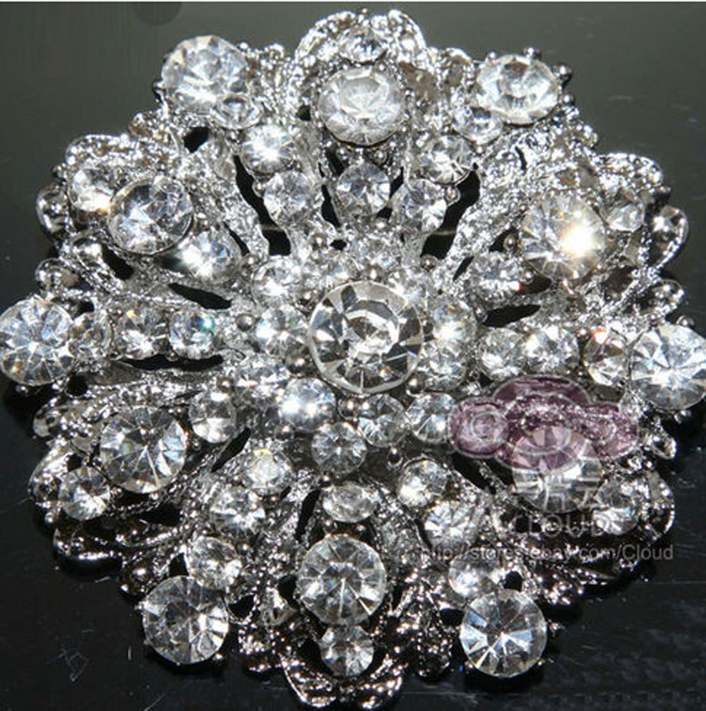 1 DOZEN BRIDAL WEDDING ROUND CAKE SASH FLOWER RHINESTONE CRYSTAL BROOCH PIN