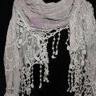 VINTAGE STYLE GREY WOMEN LADY WEDDING BRIDAL LACE TASSEL WRAP SHAWL SCARF