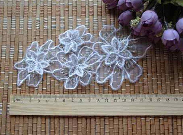 3 x SEQUIN BEADED WEDDING VEIL SHOES EMBROIDERY APPLIQUE FLOWER PATCH APPLIQUE