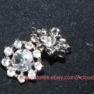 LOT OF 10 FLORAL RHINESTONE CRYSTAL WEDDING FINDINGS CRAFT ROUND SHANK BUTTONS