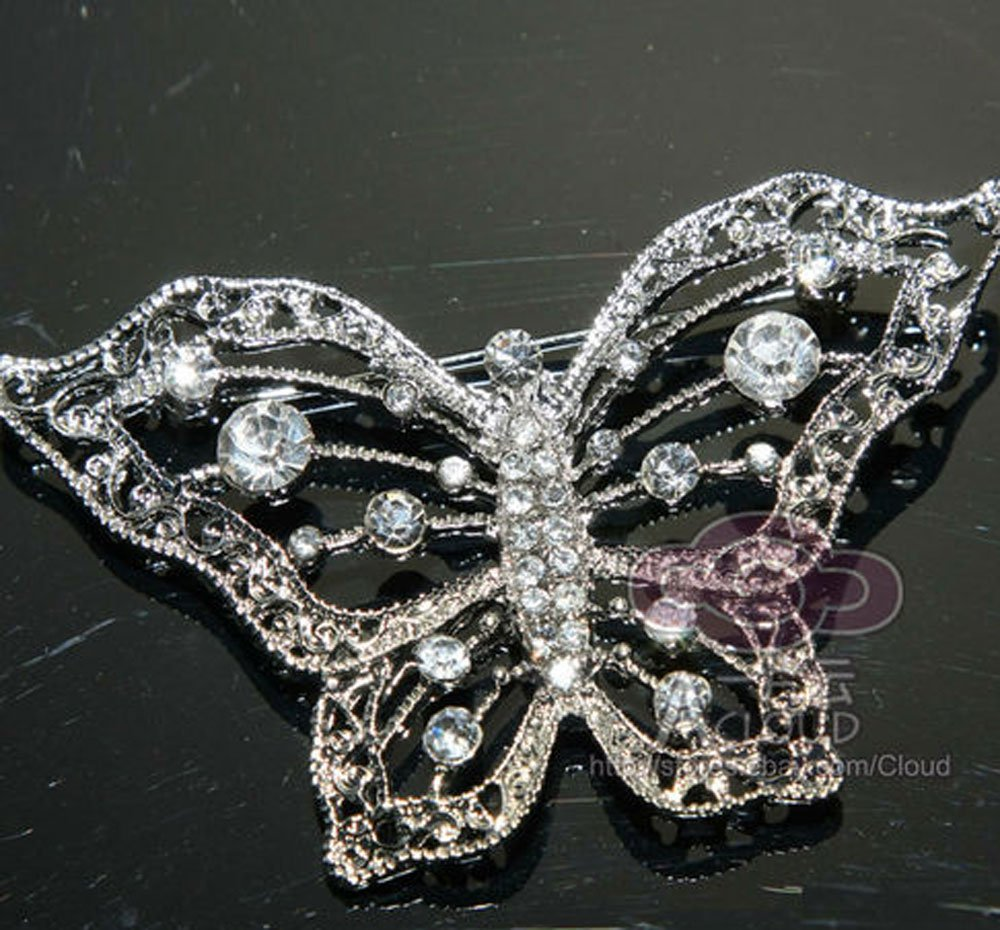 BUTTERFLY RHINESTONE CRYSTAL BRIDAL WEDDING HAIRPIECE CAKE DECORATION BROOCH PIN