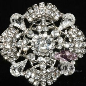 BRIDAL WEDDING RHINESTONE CRYSTAL BLING SQAURE VINTAGE STYLE BROOCH PIN PINS