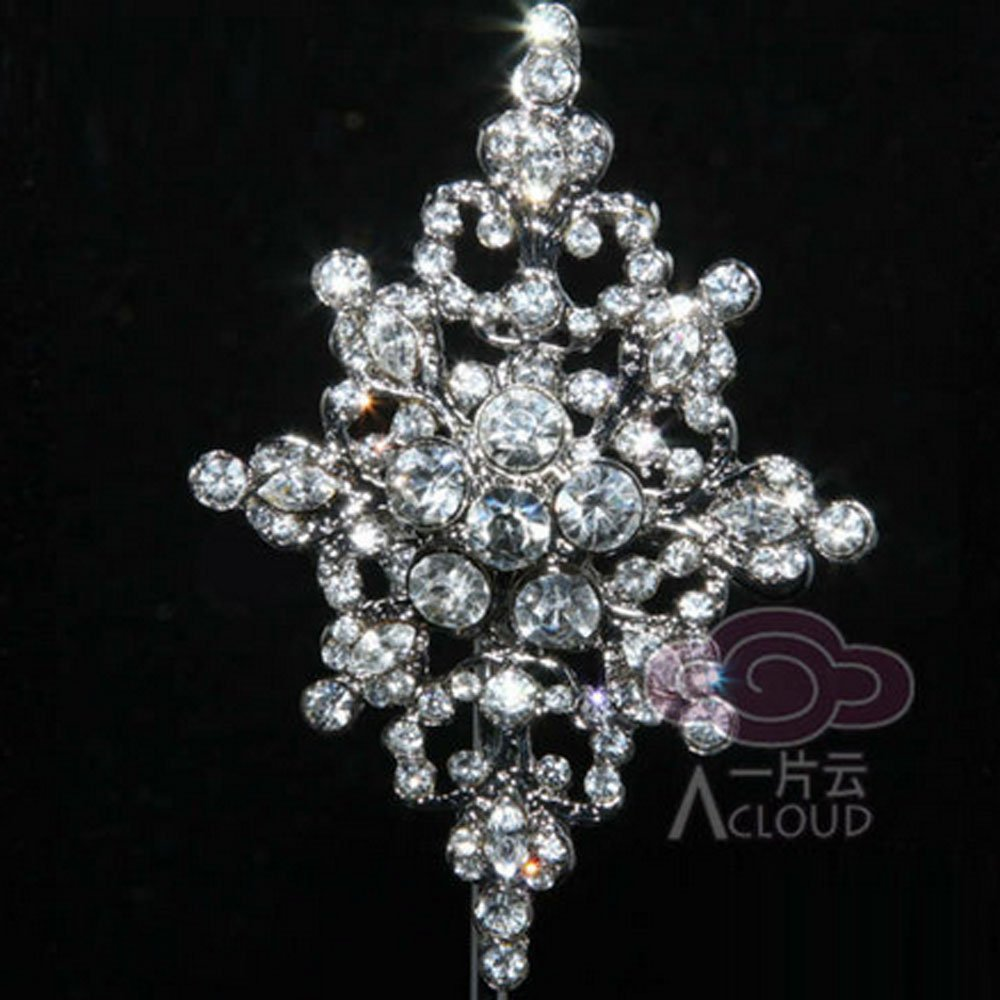 BRIDAL RHINESTONE CRYSTAL VINTAGE STYLE RHOMBUS WEDDING BROOCH PIN 2.75""