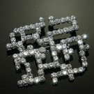 WEDDING BRIDAL RHINESTONE CRYSTAL SQAURE RIBBON SASH DRESS CRAFT BROOCH PIN